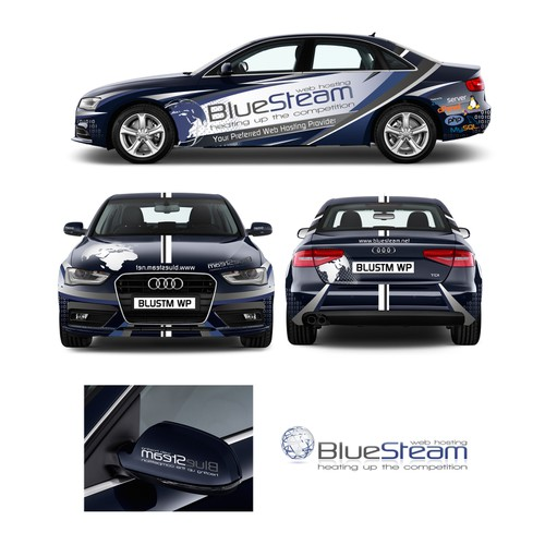 Sporty car wrap for BlueSteam