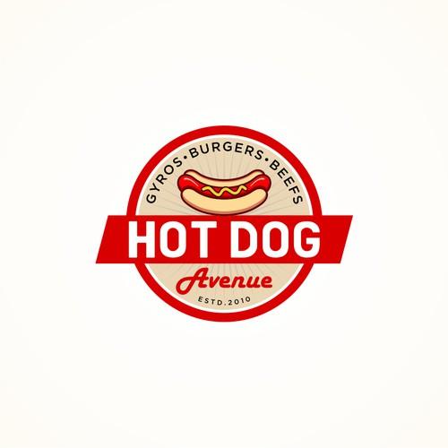 Create a classic logo for a quick service restaurant - Hot Dog Avenue