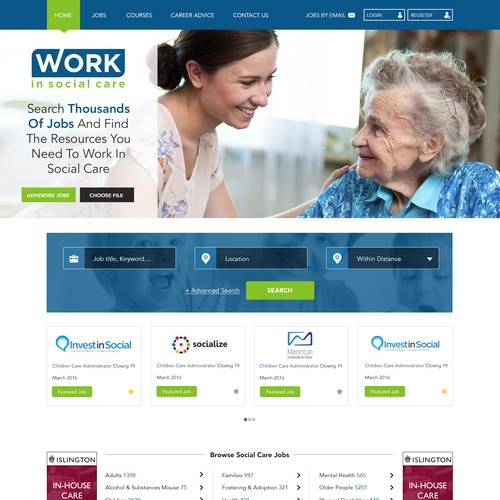 Home page design for social care website