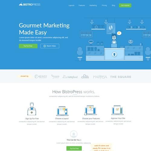 Create a unique and modern website design for BistroPress