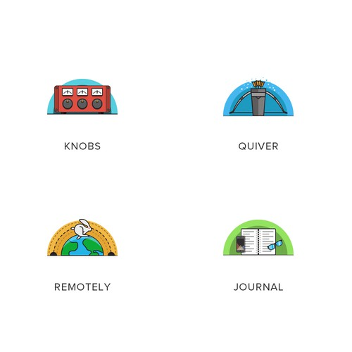 Family of icons for suite of open-source projects