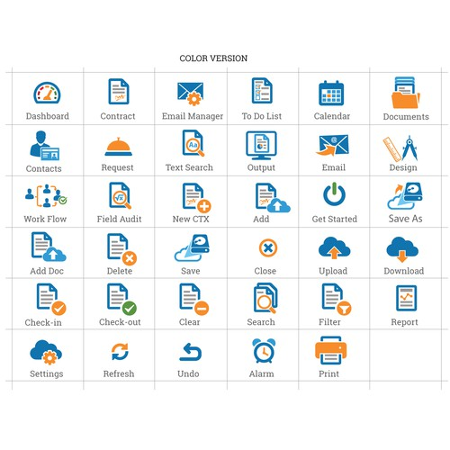 Design icons for web application
