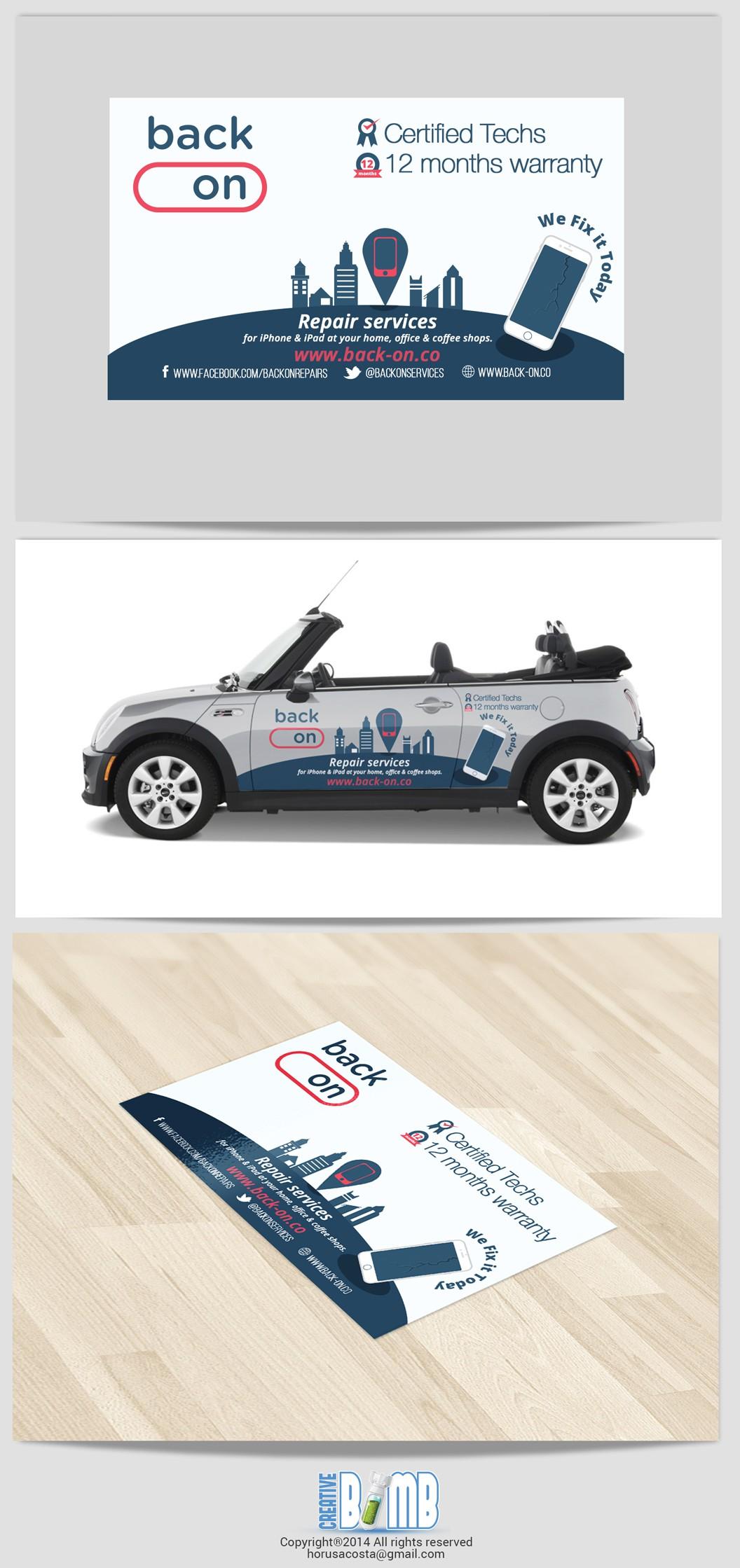 Make a clean killer door car wrap and business card.