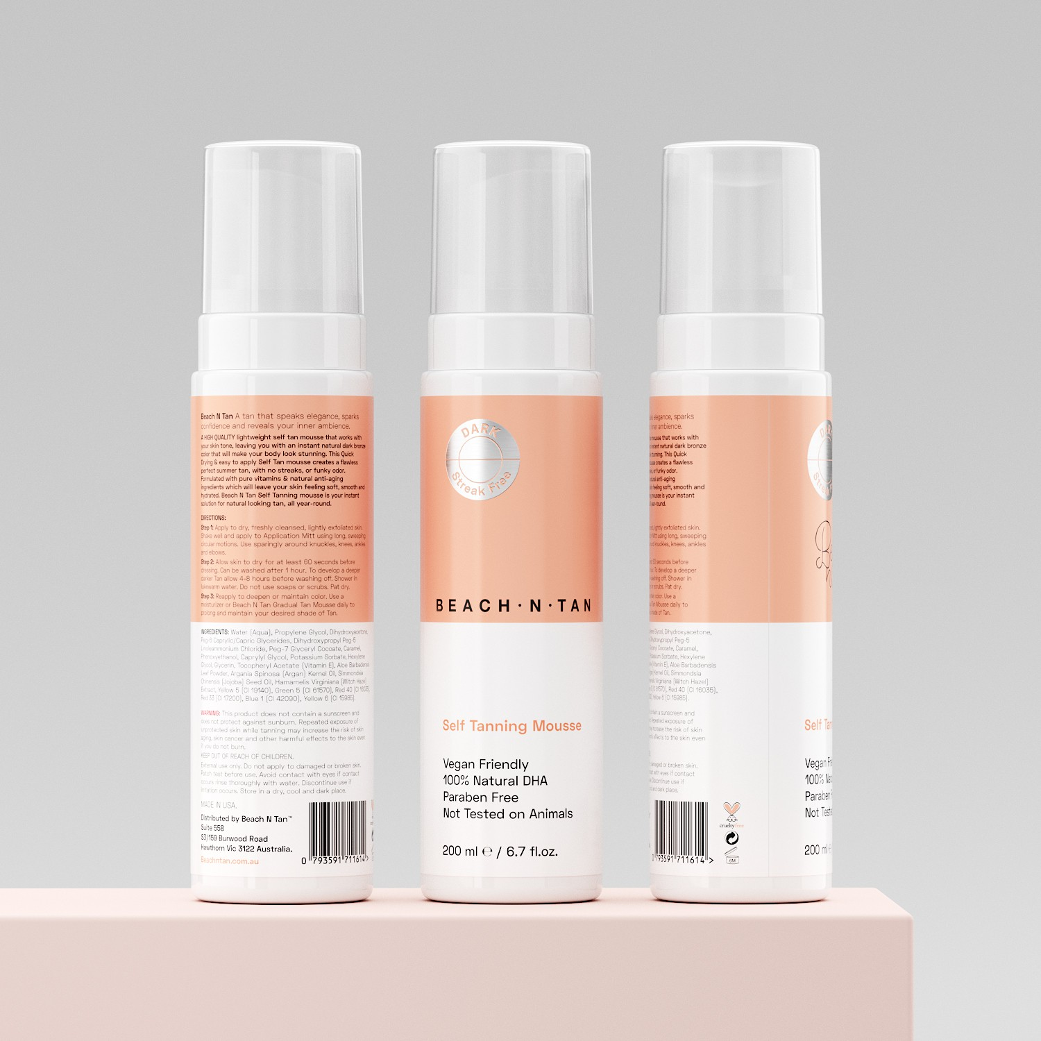 Design a clean and catchy label design for a tanning foam