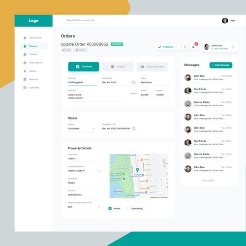 Order Update web app page design