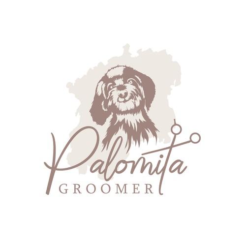 Elegant dog grooming startup logo concept