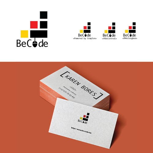 Logo and business card for BeCode