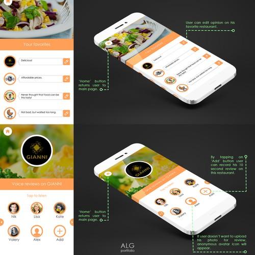 Minamilistic Resturants Suggestion app design for Shnakel