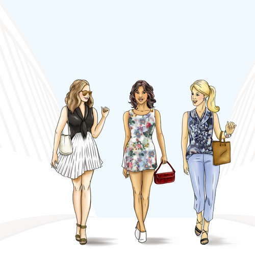 three models on white bridge illustrations