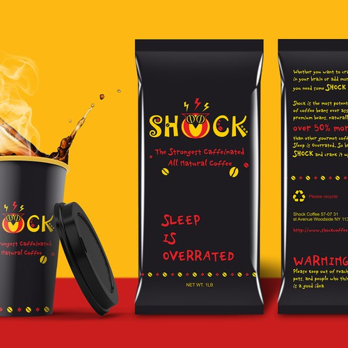 Package Design of The Worlds Strongest Hyper Caffeinated Coffee