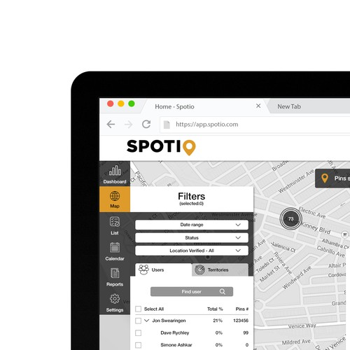 Sales tracking and territory management app