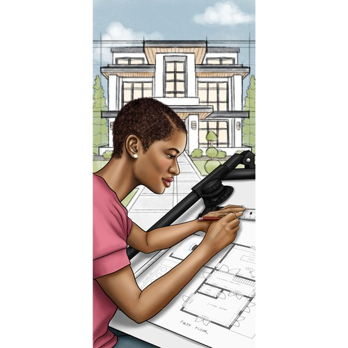 Architect Bookmark Illustration