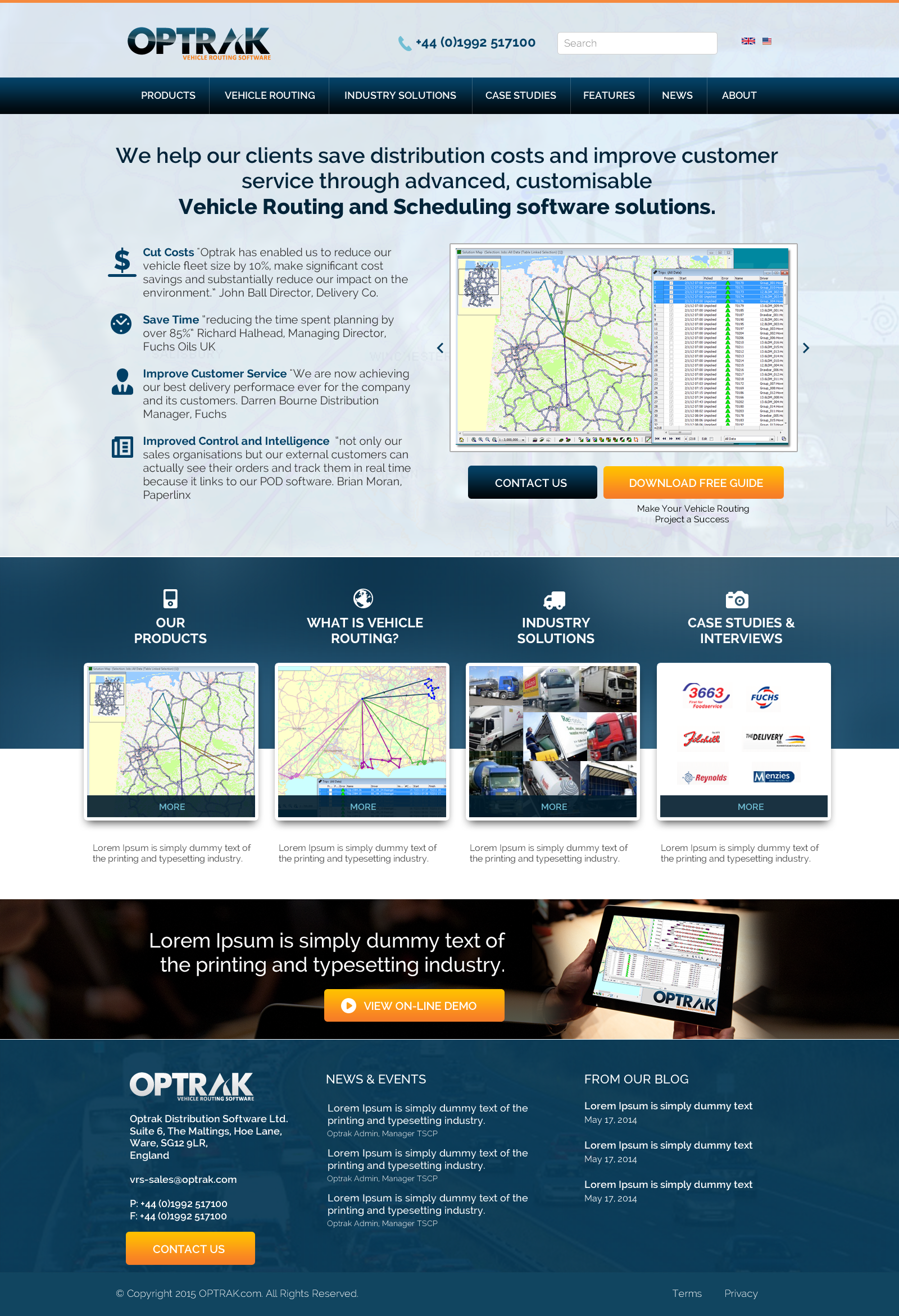 Vehicle Routing Software web site redesign