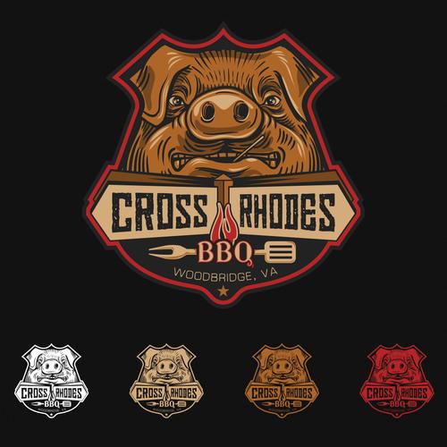 BADASS logo for CROSS RHODES BBQ