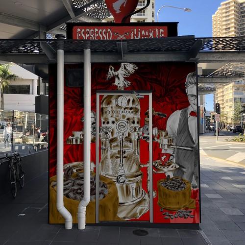 Bold design concept for coffee kiosk