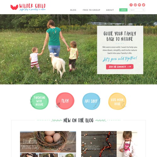 Homepage Design for Wilder Child