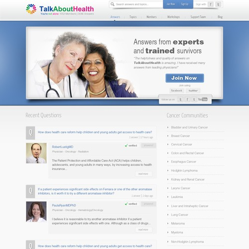 website design for TalkAboutHealth