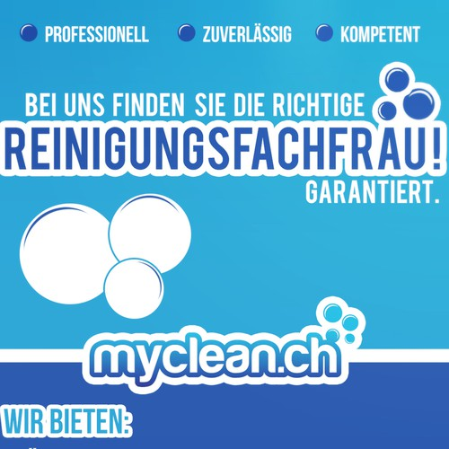 Design a flyer for cleaning service myclean.ch.