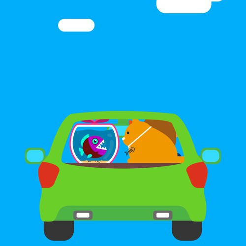 car view from back flat illustration