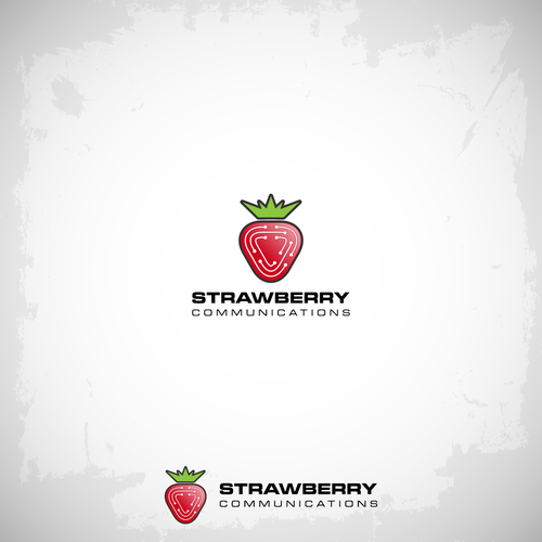 Logo for communications company caled Strawberry Communications