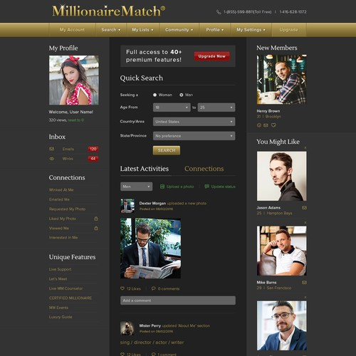 User page for dating website
