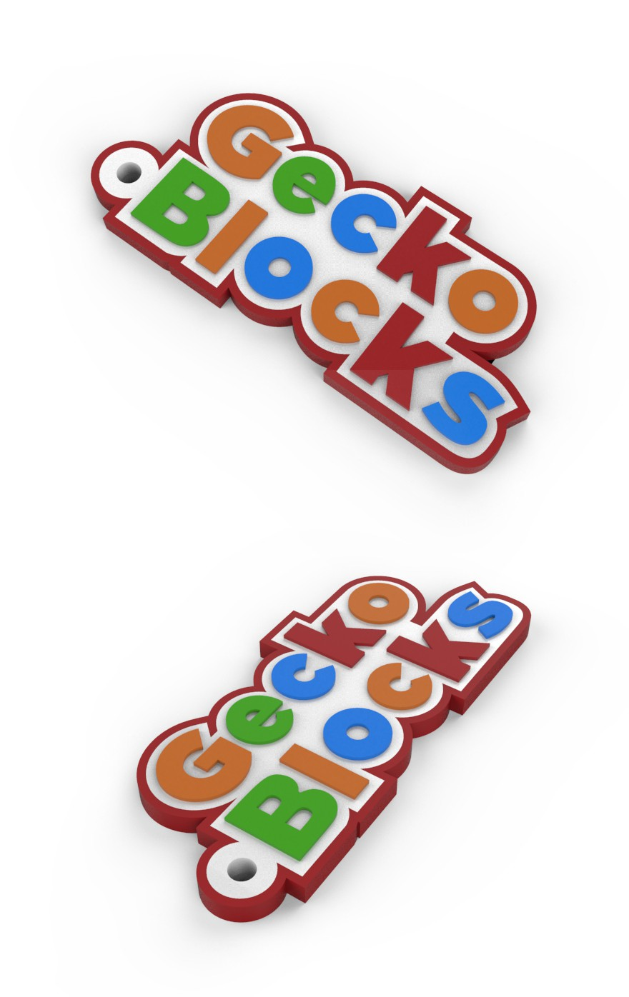 Gecko Block Keychain