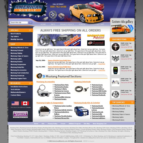$320 - e-Commerce - automotive aftermarket redesign