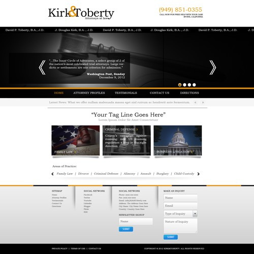 website design for Kirk and Toberty Attorneys At Law (K&T)