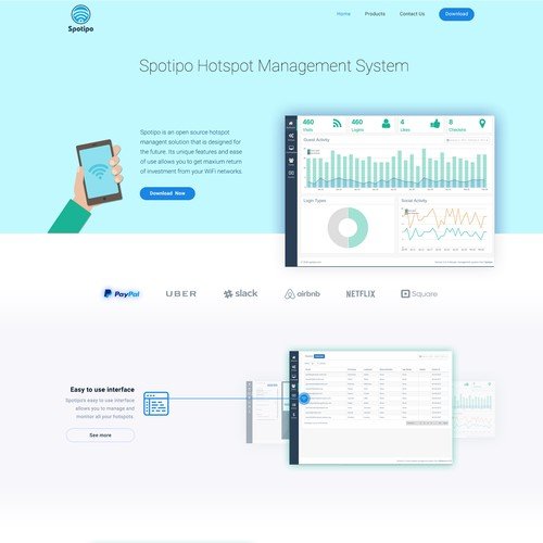 Clean landing page for software.
