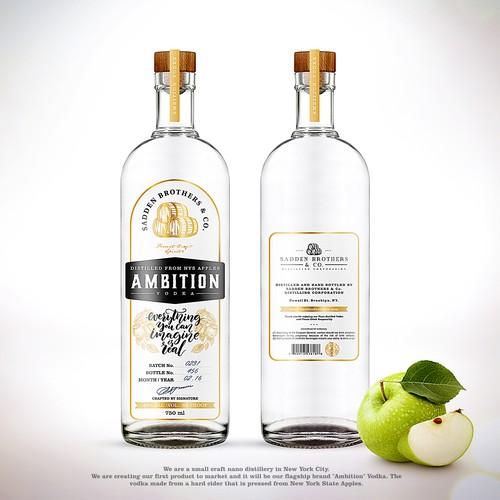 Label handmade vodka Ambition
