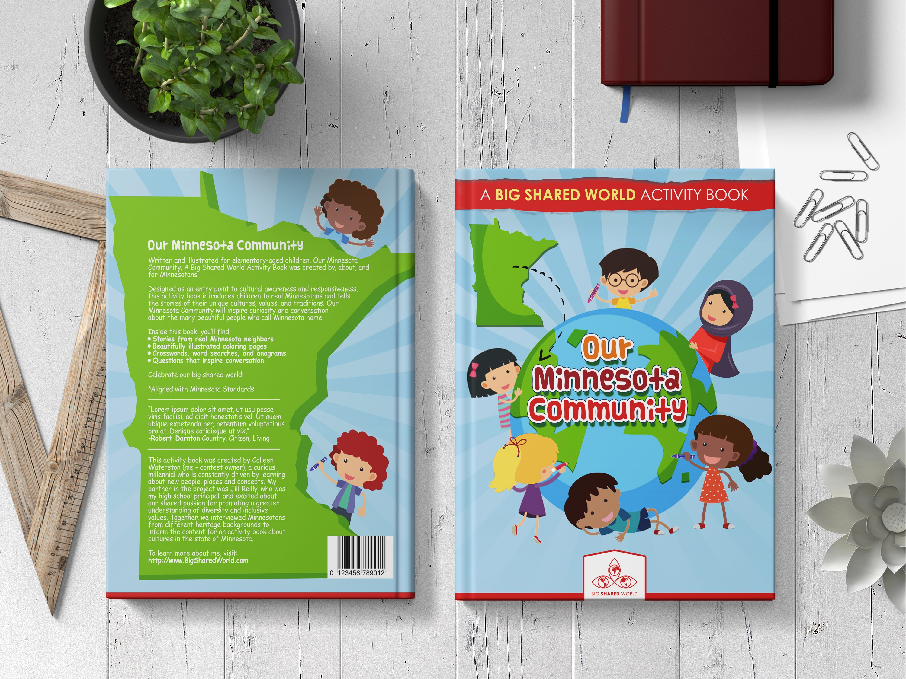 Design children's book cover for activity book about cultures in state of Minnesota!