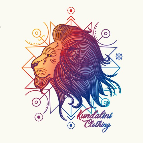 Mystic Psychedelic Lion T Shirt Design