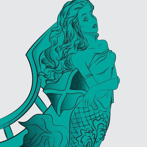 Mermaid figurehead to be used in a logo
