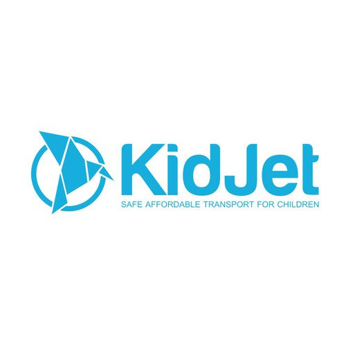 KidJet - fun logo for adults that expresses the offer of a safe ride for kids