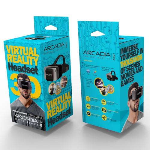 futuristic, cutting-edge Virtual Reality Headset package