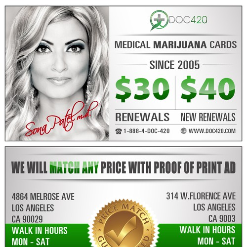 Business card for medical marijuana doctor's office