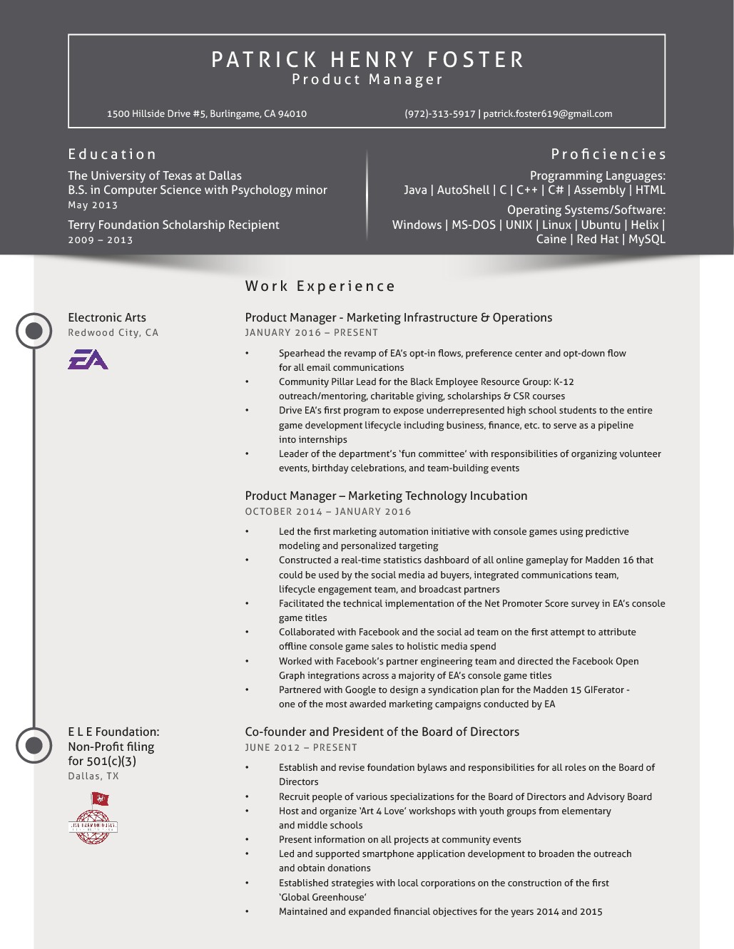 Resume Facelift for a Marketing, Software Development, & Philanthropic Young Professional.