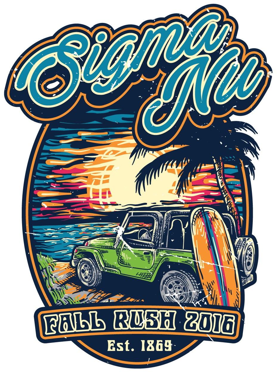 Create a illustrative colorful vintage beach design for fraternity college students.