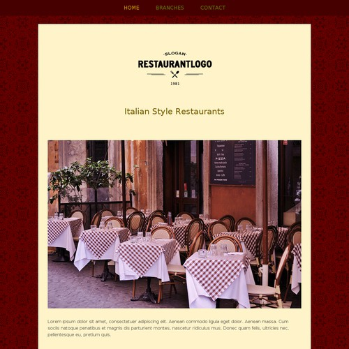 Web page design for a classic restuarant