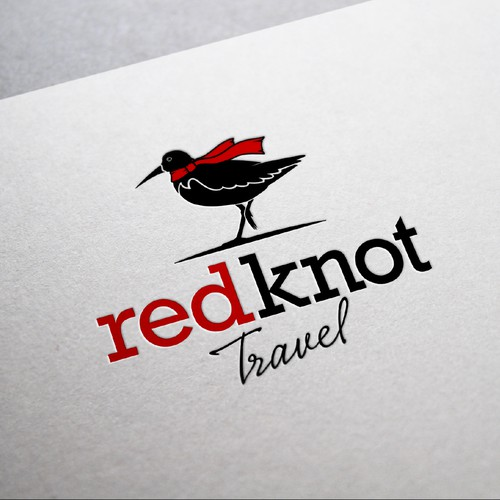 A classic/chic, character logo for Red Knot Travel - an at home travel agency.