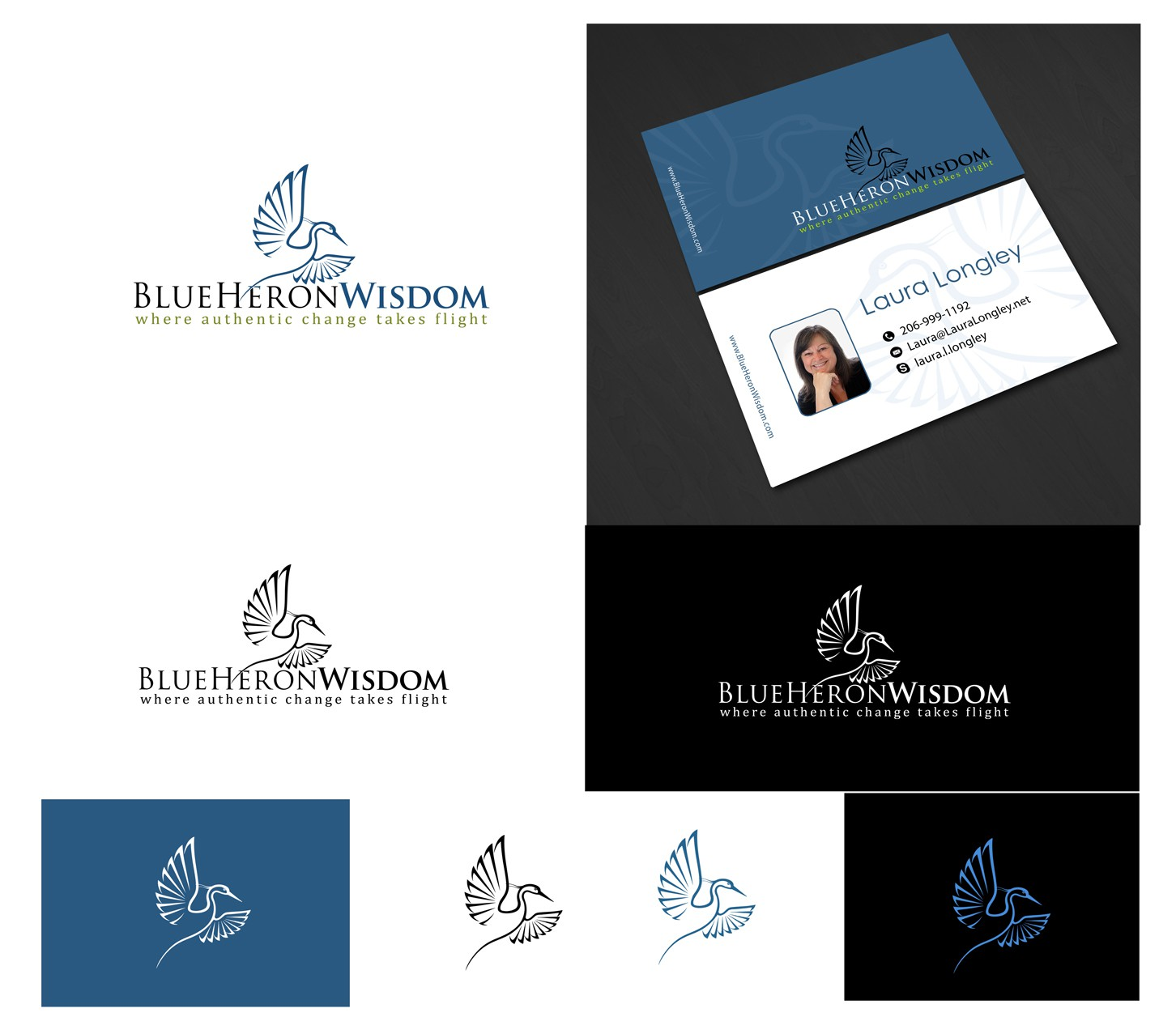 New logo and business card wanted for Blue Heron Wisdom