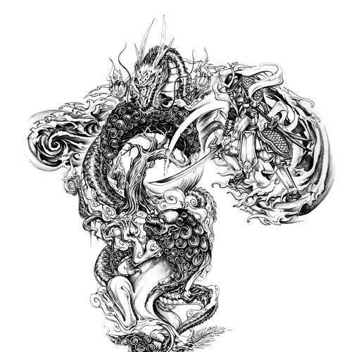 asiatisches S/W-Tattoo / black&white tattoo asian style