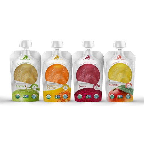 The design of the packaging of fruit and vegetable puree.