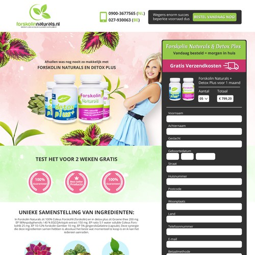 Landing page for health product