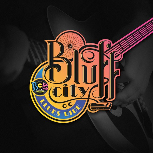 blues/bicycle ride event logo