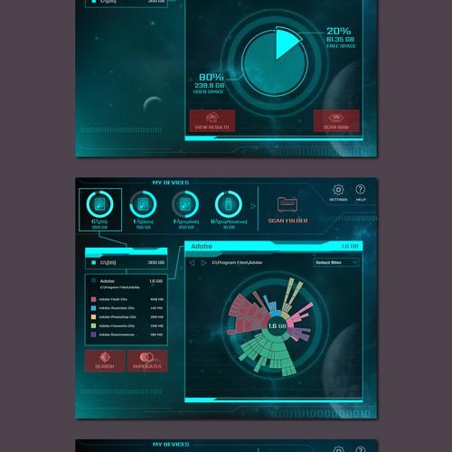 Sci-Fi UI for a Disk explorer