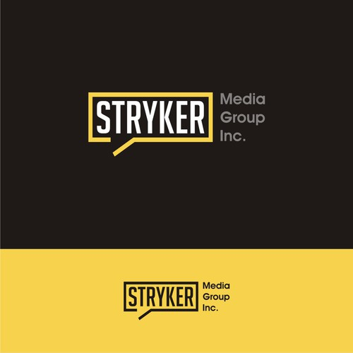 Clean modern design concept logo and brand identity pack for Stryker Media Group Inc.