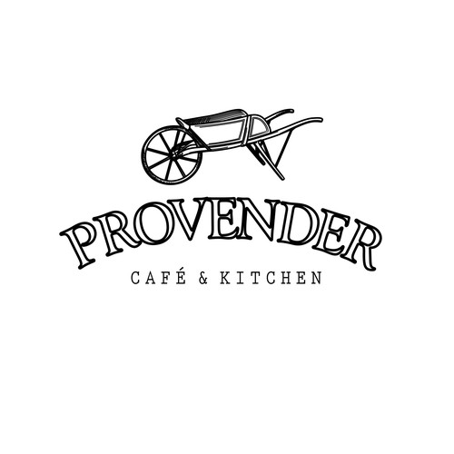 Vintage logo for cafe and kitchen with handcrafted drawing of wheelbarrow