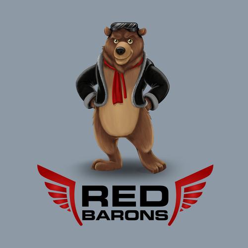BearMascot in Red Baron