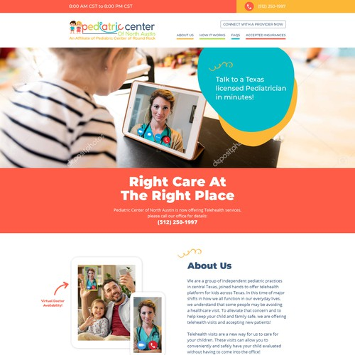 Web page design for a medical group